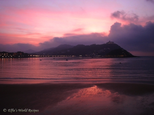 stunning sunset in san sebastian